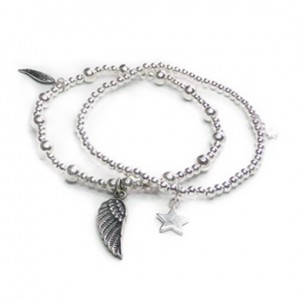 Sterling Silver Twinny Mini Bracelet with Wing and Star