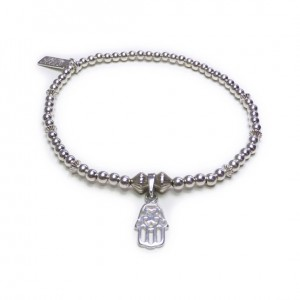 The Ball and Fluted Rondo Bracelet with Mini Hamsa