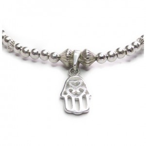 The Ball and Fluted Rondo Bracelet with Mini Hamsa Close-up