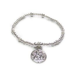The Mixed Fluted Ball Bracelet with Cherub