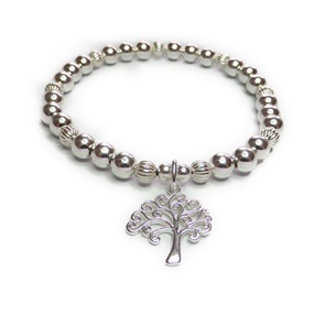 Sterling Silver Fluted Chunky Bracelet with Tree of Life Charm
