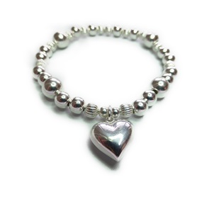 Sterling Silver Fluted Chunky Large Ball Bracelet with Puffed Heart Charm