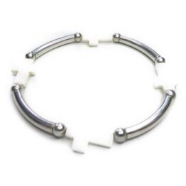 Sterling Silver Noodle Bracelet with Mother of Pearl Crosses