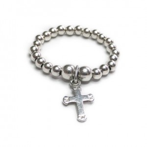 Sterling Silver Stacking Ball Ring with Cross Charm