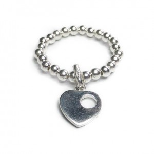Sterling Silver Stacking Ball Ring with Missing You Charm
