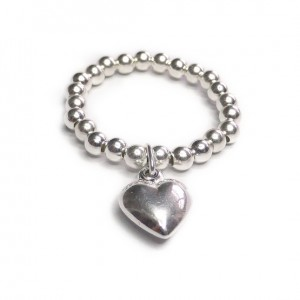 Sterling Silver Stacking Ball Ring with Puffed Heart Charm