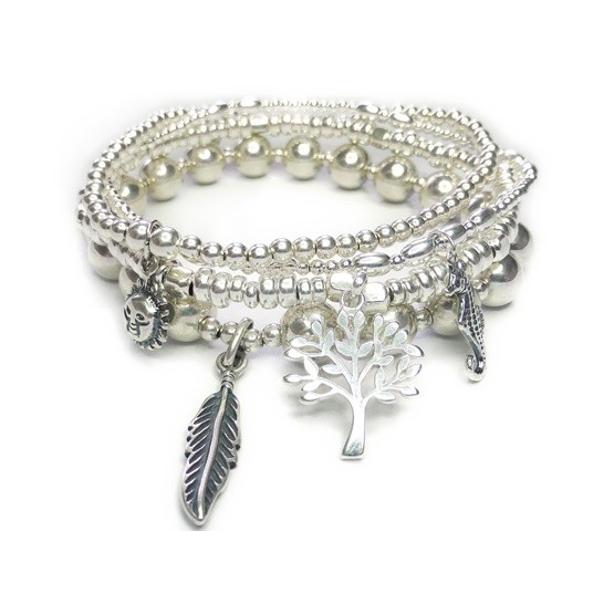 The Sterling Silver Eunoia Bracelet Stack with Seahorse, Tree of Life, Sun & Feather Charms