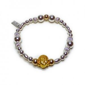 Chunky Buddha Bead Ball Bracelet with Gold Plated Vermeil Buddha Head