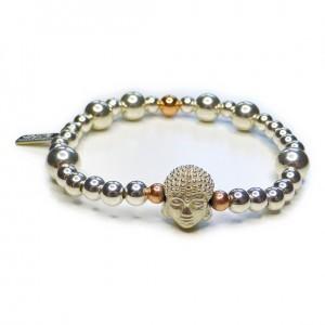 Chunky Buddha Bead Ball Bracelet with Sterling Silver Buddha Head