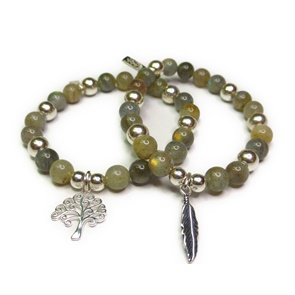 Chunky Labradorite & Sterling Silver Ball Bracelets with Feather & Tree of Life