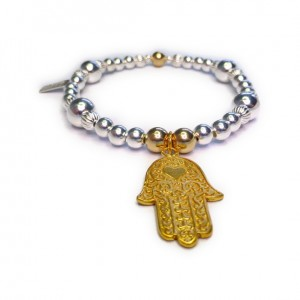 Chunky Mixed Metal Ball Bracelet with Gold Plated Vermeil Hamsa