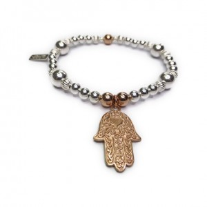 Chunky Mixed Metal Ball Bracelet with Rose Gold Plated Vermeil Hamsa