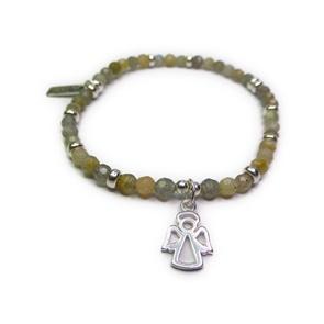 Faceted Labradorite & Sterling Silver Bracelet with Angel