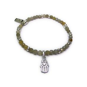 Faceted Labradorite & Sterling Silver Bracelet with Hamsa