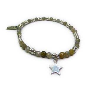 Faceted Labradorite & Sterling Silver Bracelet with Star