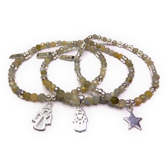 Faceted Labradorite & Sterling Silver Skinny Bracelet Stack
