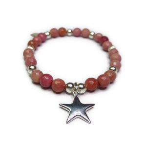 Faceted Rhodonite & Sterling Silver Ball Bracelet with Puffed Star