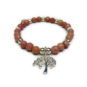 Faceted Rhodonite & Sterling Silver Ball Bracelet with Tree of Life