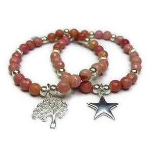 Faceted Rhodonite & Sterling Silver Ball Bracelets with Puffed Star & Tree of Life