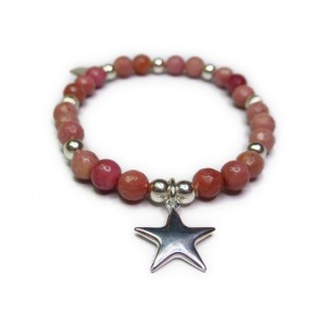 Faceted Rhodonite and Sterling Silver Bracelet with Puffed Star