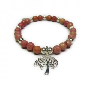 Faceted Rhodonite and Sterling Silver Bracelet with Tree of Life