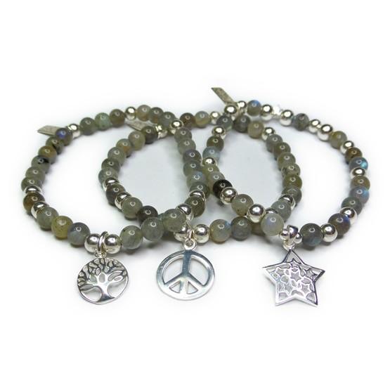 Labradorite & Sterling Silver Ball Bracelet Stack