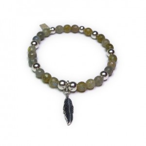 Labradorite & Sterling Silver Ball Bracelet with Feather Charm