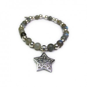Labradorite & Sterling Silver Ball Bracelet with Star
