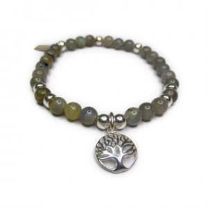 Labradorite & Sterling Silver Ball Bracelet with Tree of Life