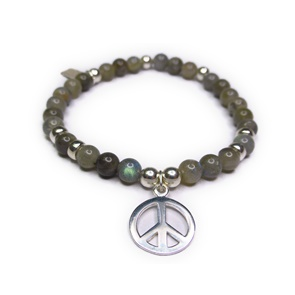 Labradorite & Sterling Silver Bracelet with Peace Sign