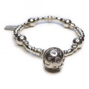 Mixed Ball & Cube Bracelet with Dream Ball Charm in Sterling Silver