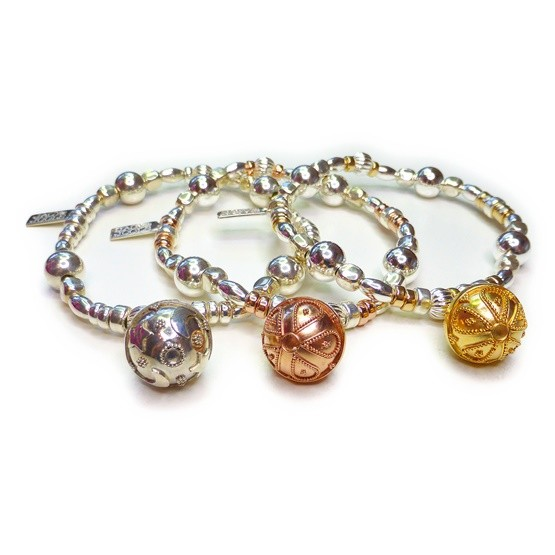 Mixed Ball & Cube Bracelet with Dream Ball Charm in Sterling Silver, Rose Gold & Gold
