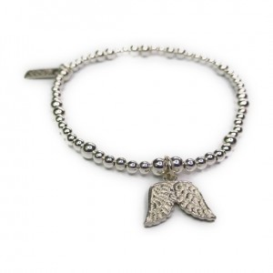 Sterling Silver Ball Bracelet with Double Wing