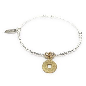 Sterling Silver Ball Bracelet with Gold Chinese Coin