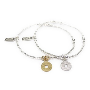 Sterling Silver Ball Bracelet with Gold & Silver Chinese Coins
