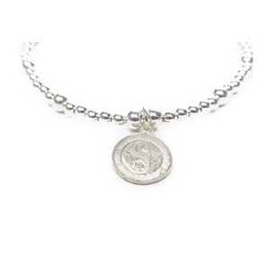 Sterling Silver Ball Bracelet with Yoga Charm Closeup