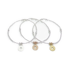 Sterling Silver & Mixed Metal Ball Bracelet with Chinese Coin Charms