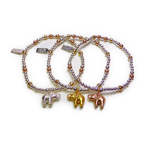 Sterling Silver & Mixed Metal Ball Bracelets with Elephant