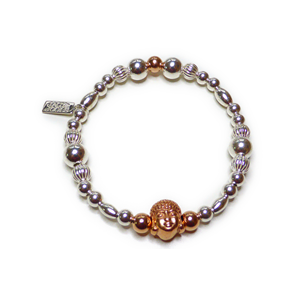 Sterling Silver & Mixed Metal Chunky Ball Bracelet with Rose Gold Buddha