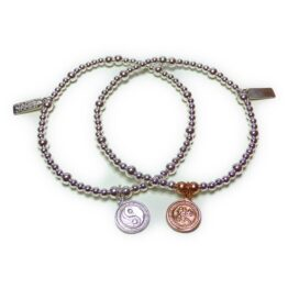 Sterling Silver & Mixed Metal Mini Mixed Ball Bracelet with Yoga Charms