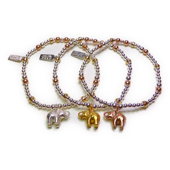 Sterling Silver & Mixed Metal Mini Mixed Ball and Rondelle Bracelets with Elephant Charms