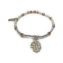 Sterling Silver & Mixed Metal Mini Mixed Ball and Rondelle Bracelets with Hamsa