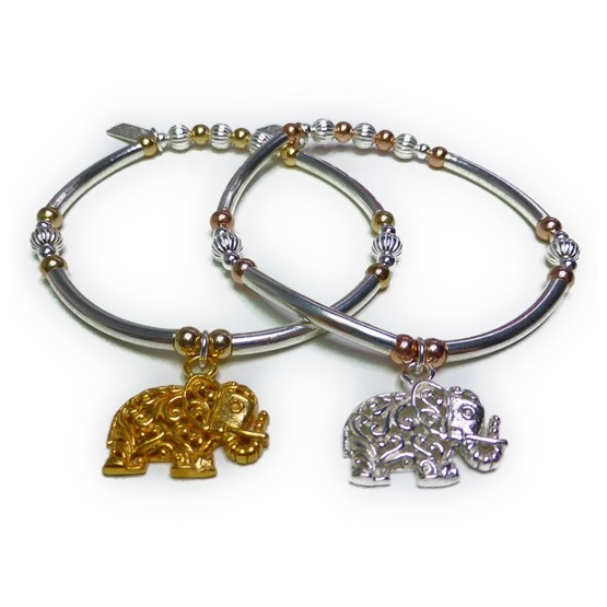 Sterling Silver & Mixed Metal Noodle Bracelet with Elephant Charm