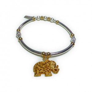 Sterling Silver & Mixed Metal Noodle Bracelet with Gold Plated Vermeil Elephant Charm