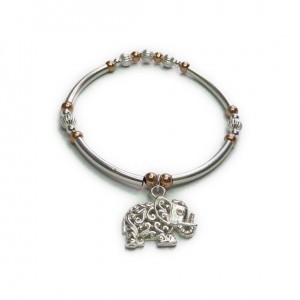 Sterling Silver & Mixed Metal Noodle Bracelet with Sterling Silver Elephant Charm