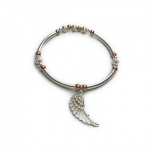 Sterling Silver & Mixed Metal Noodle Bracelet with Sterling Silver Wing Charm