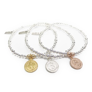 Sterling Silver, Rose Gold & Gold Ball Bracelets with Yoga Charm