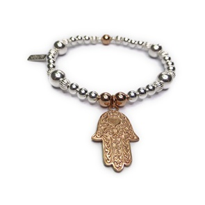 Sterling Silver and Mixed Metal Ball Bracelet with Large Rose Gold Hamsa