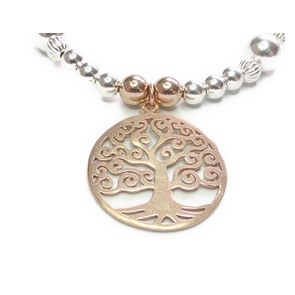 Sterling Silver and Mixed Metal Ball Bracelet with Rose Gold Tree of Life Closeup