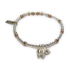 Sterling Silver and Mixed Metal Ball Bracelet with Small Elephant Charm